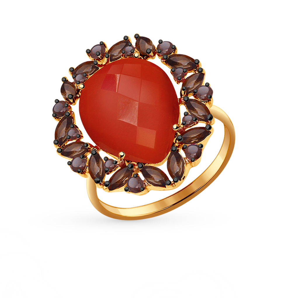 Фото «золотое кольцо с сердоликом и раухтопазами (кварцами дымчатый)»