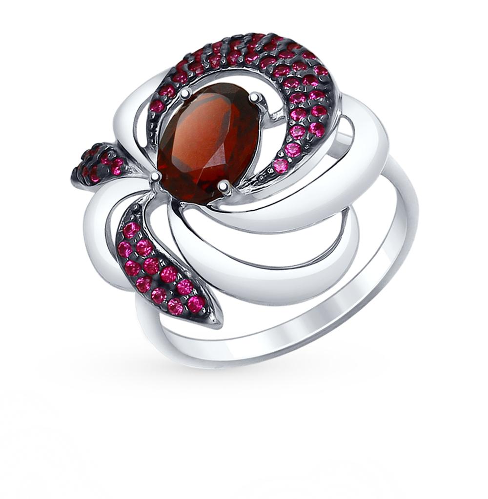 Фото «Серебряное кольцо с фианитами и гранатом SOKOLOV 92011427»