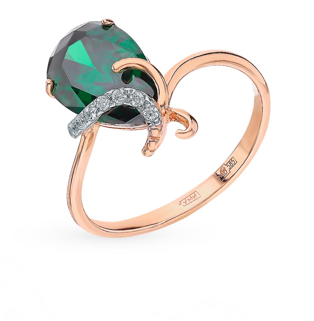 Золотое кольцо с фианитами и изумрудами в Екатеринбурге