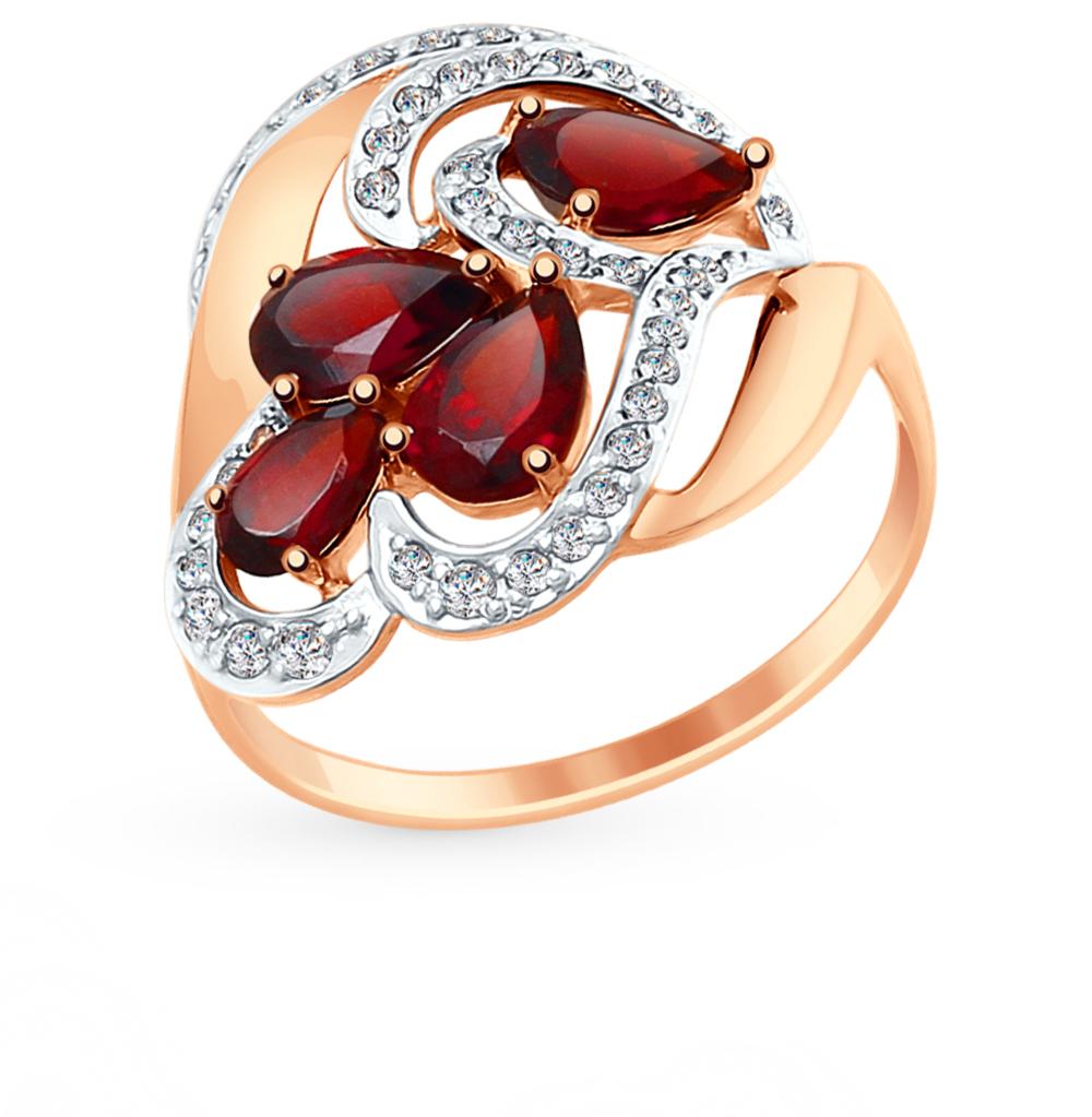 золотое кольцо с фианитами и гранатом SOKOLOV 714895*