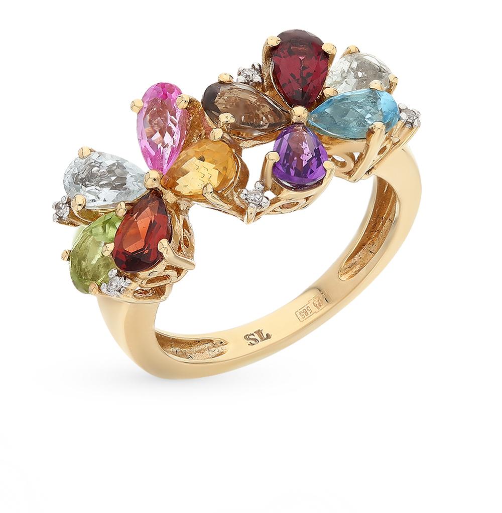 золотое кольцо с аметистом, топазами, гранатом, цитринами и бриллиантами
