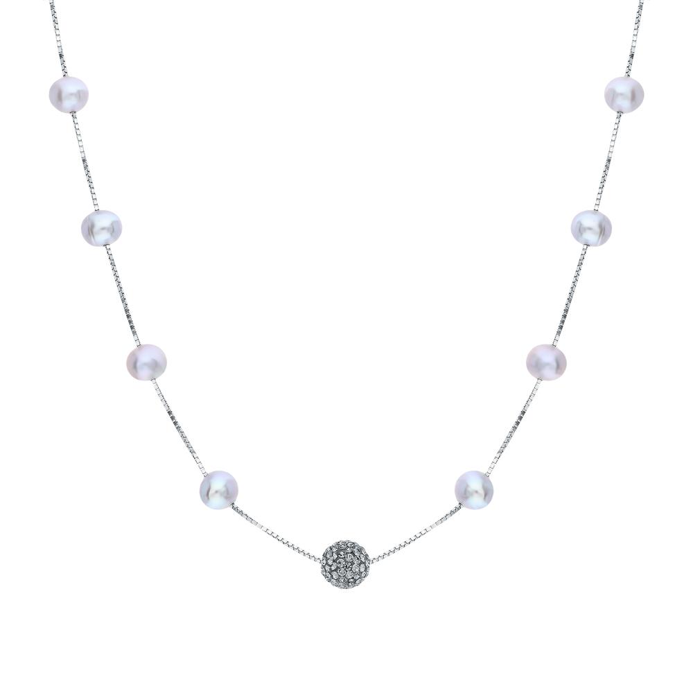 Фото «Серебряное шейное украшение с жемчугами культивированными и кристаллами swarovski имитациями»