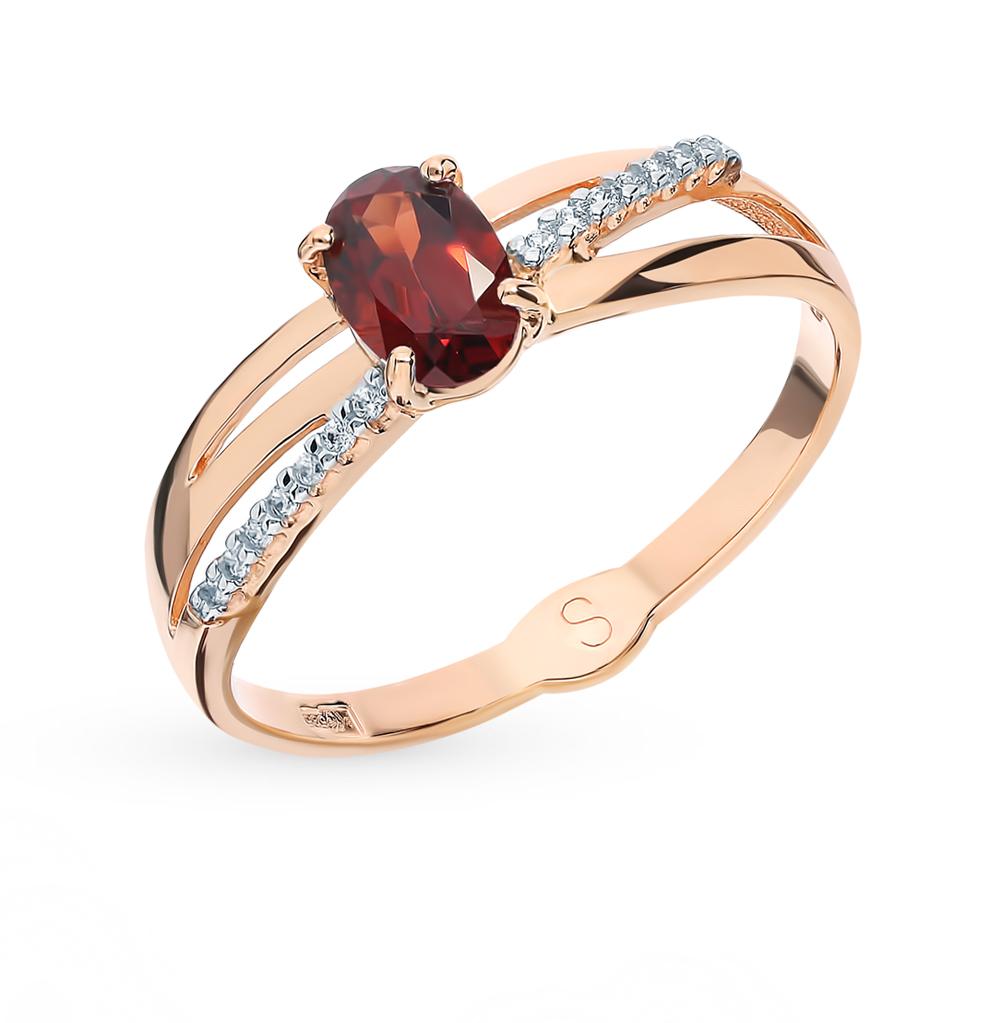 Фото «Золотое кольцо с фианитами и гранатом SOKOLOV 715610*»