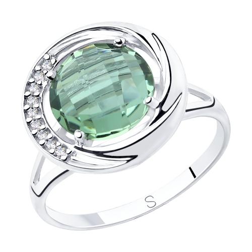 Фото «Серебряное кольцо с кварцем и фианитами SOKOLOV 92011806»