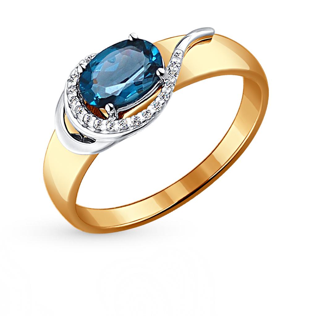 Фото «Золотое кольцо с топазами и фианитами SOKOLOV 714072*»