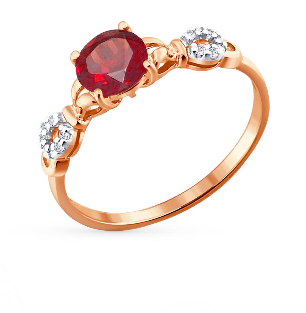 золотое кольцо с фианитами и гранатом SOKOLOV 713808*