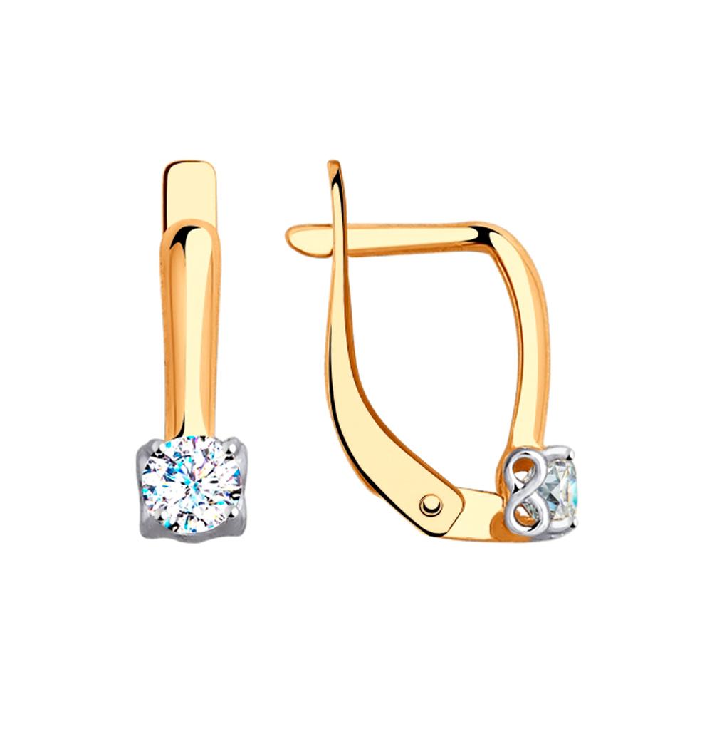 золотые серьги с фианитами SOKOLOV 027617