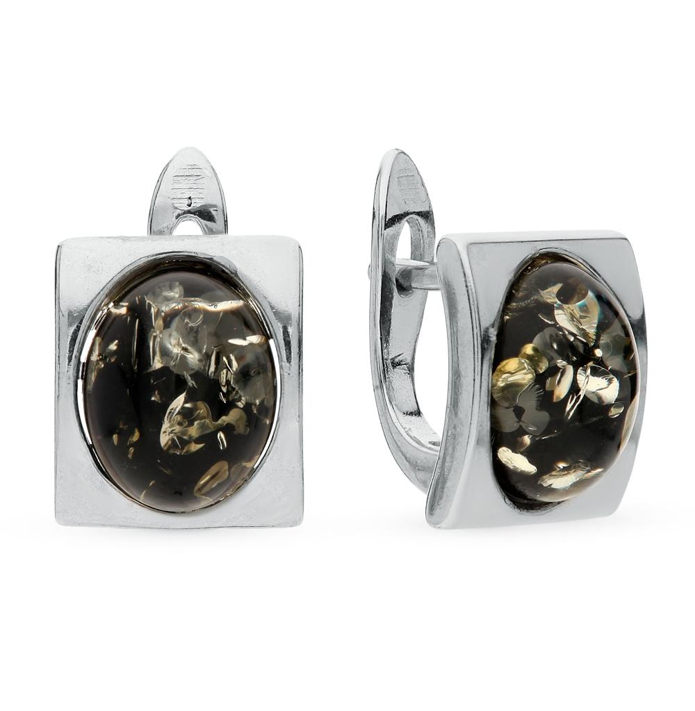 Серебряные серьги с янтарем в Санкт-Петербурге