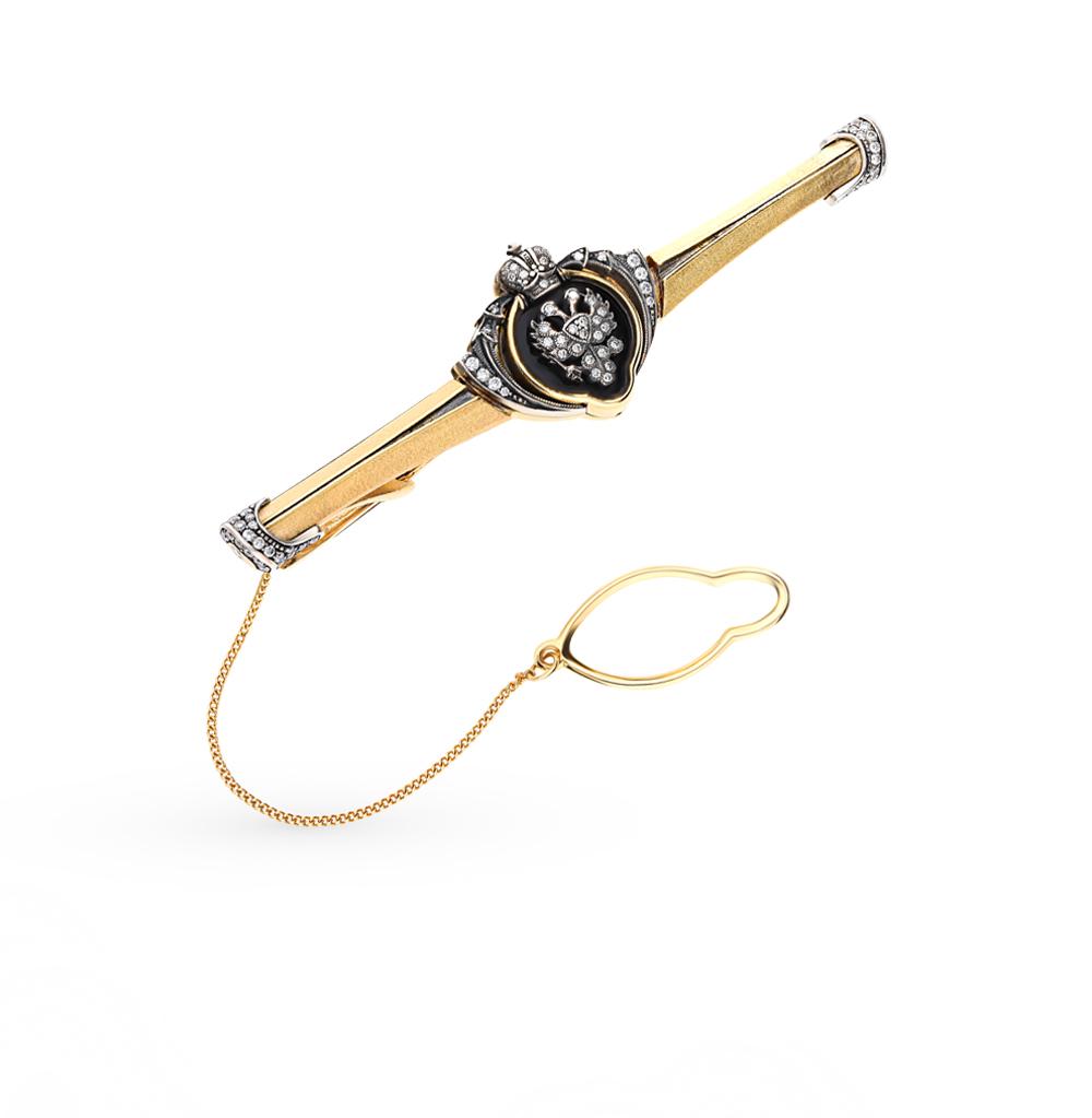 золотой зажим для галстука с бриллиантами