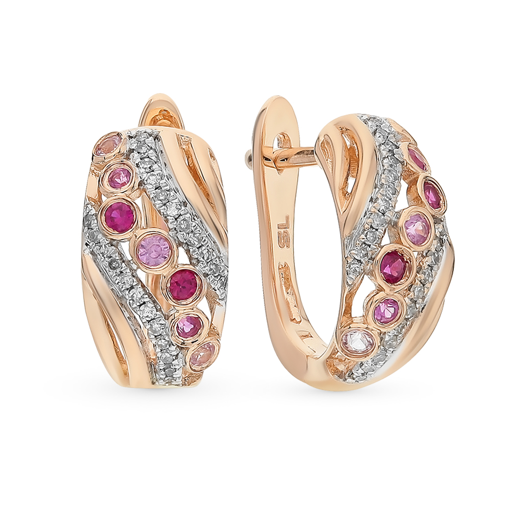 Фото «Золотые серьги с рубинами, сапфирами и бриллиантами»