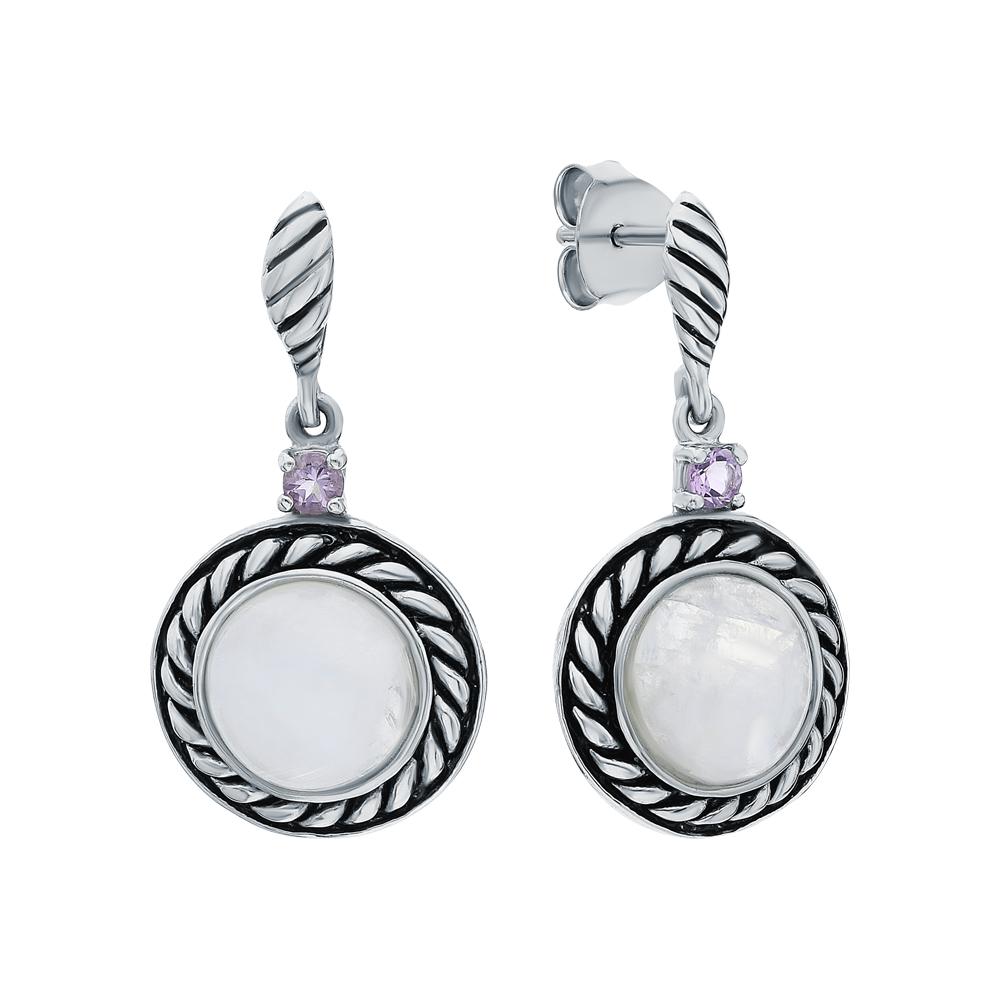 Фото «Серебряные серьги с аметистом и лунными камнями»