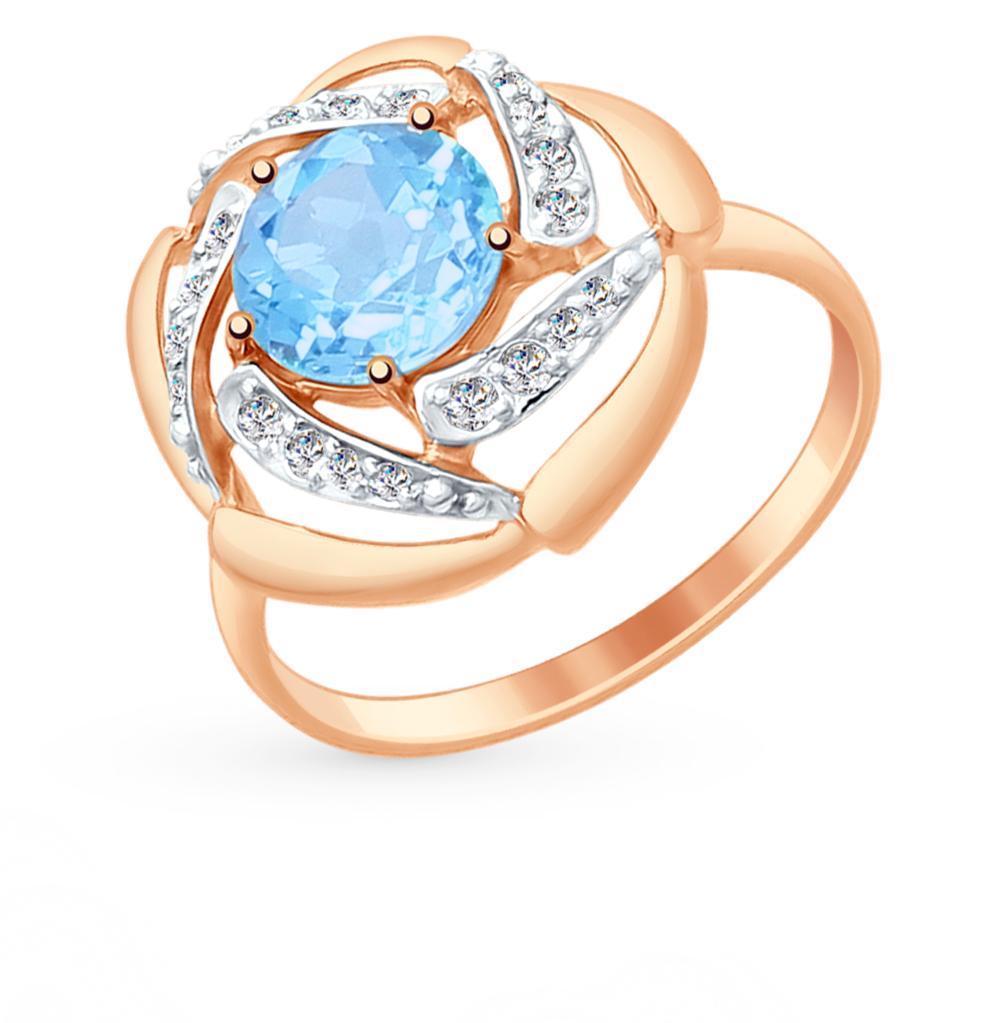 Золотое кольцо с топазами и фианитами SOKOLOV 714874* в Екатеринбурге