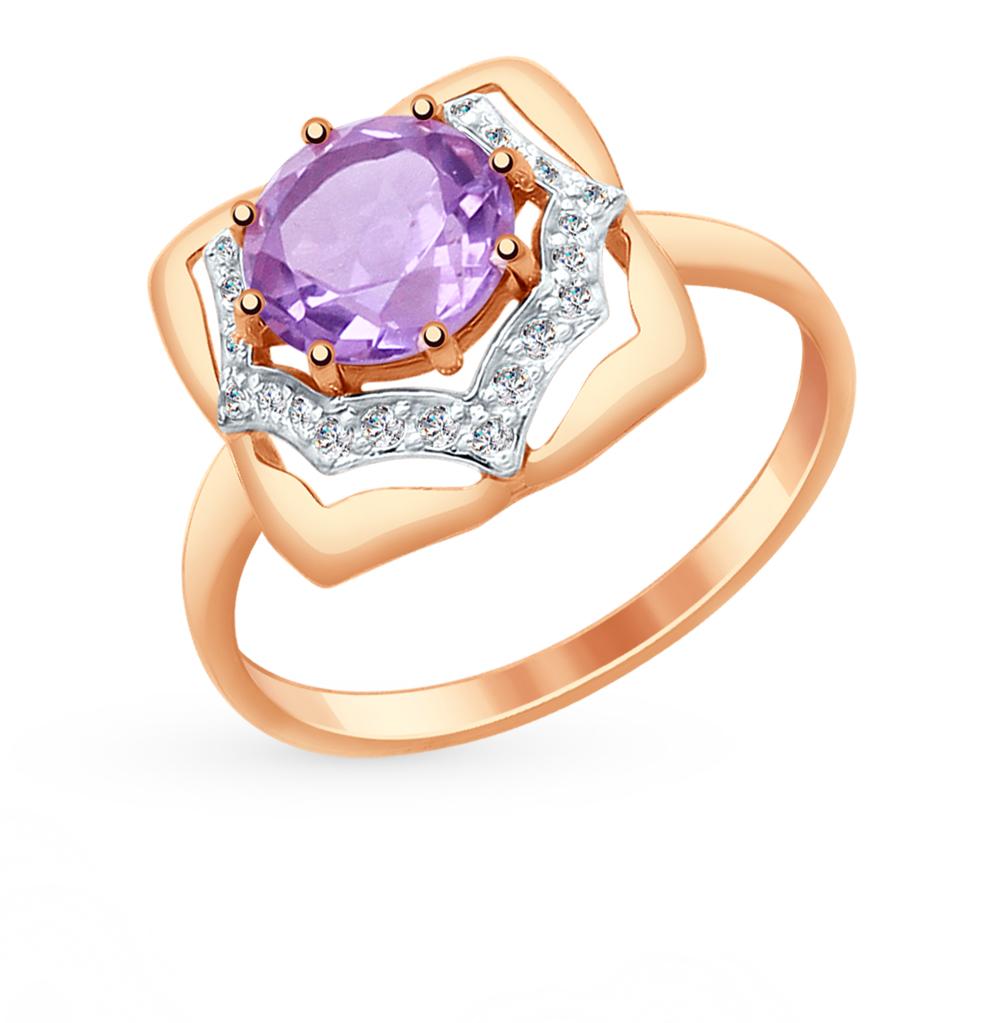 золотое кольцо с аметистом и фианитами SOKOLOV 714873*