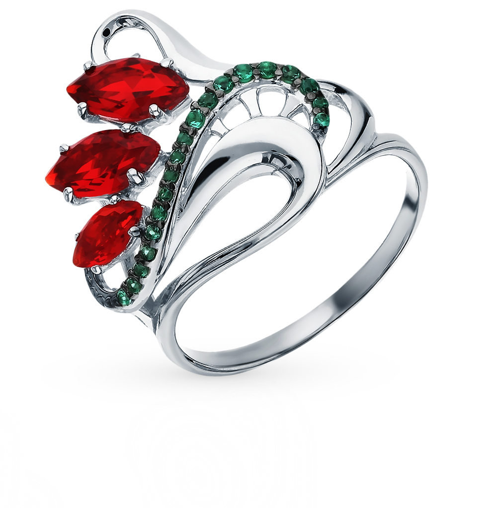 серебряное кольцо с рубеллитами и фианитами
