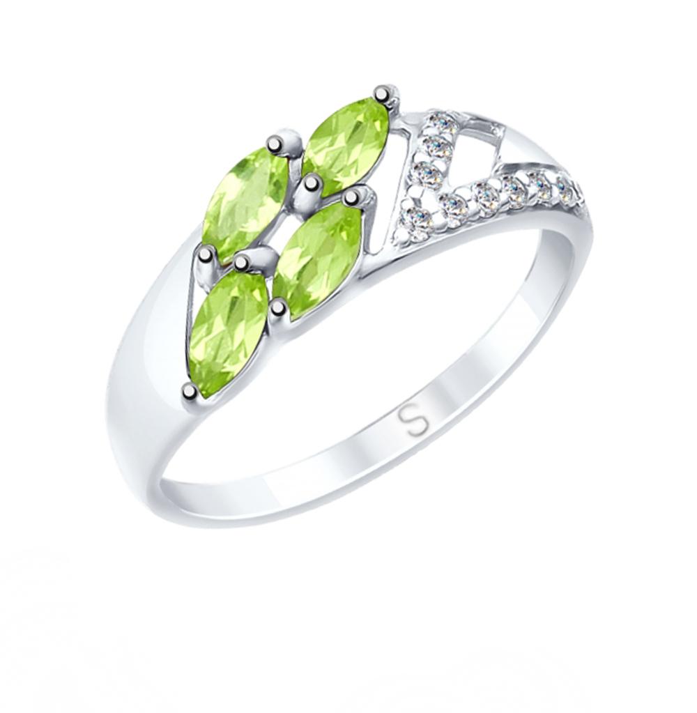 серебряное кольцо с хризолитом и фианитами SOKOLOV 92011644