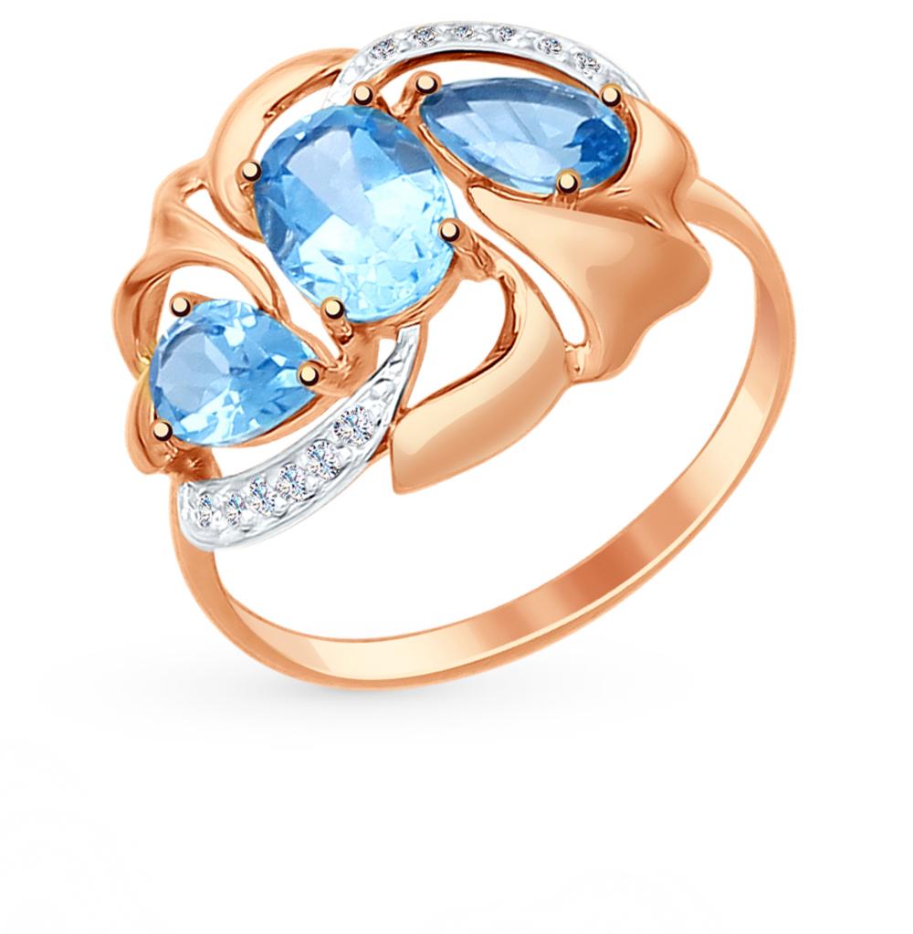 золотое кольцо с топазами и фианитами SOKOLOV 714766*