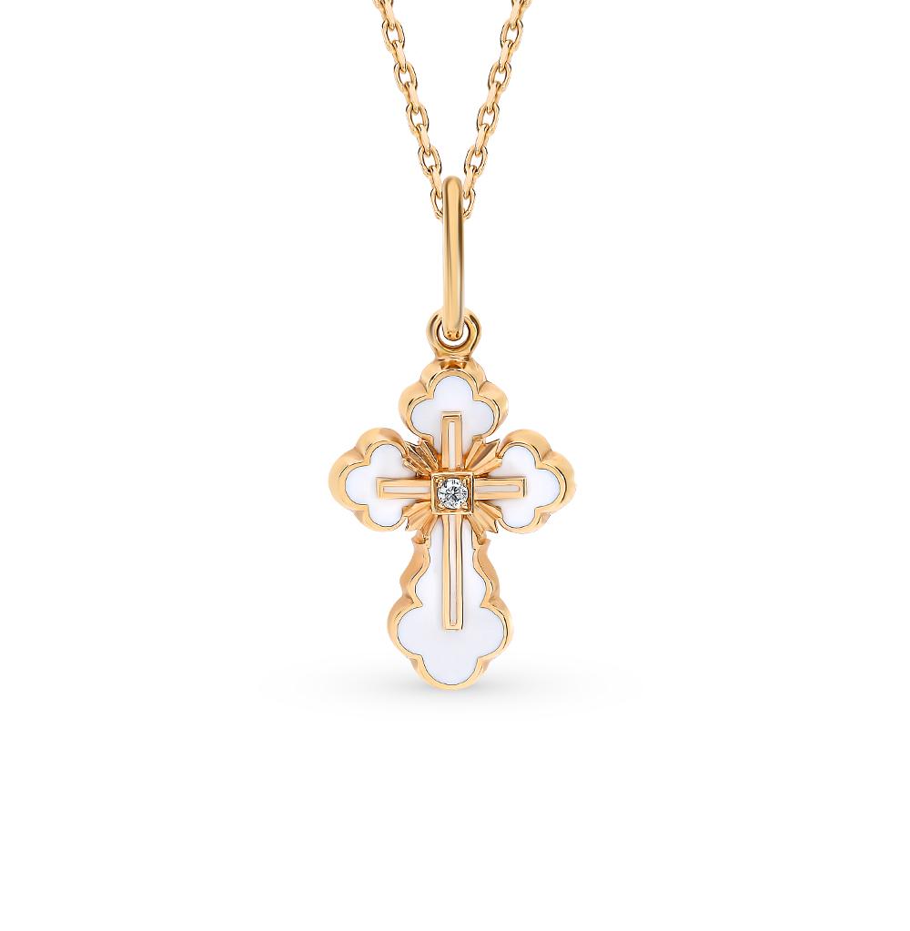золотая подвеска с эмалью и бриллиантами