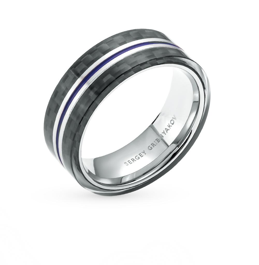 Фото «кольцо из стали с карбоном и эмалью»
