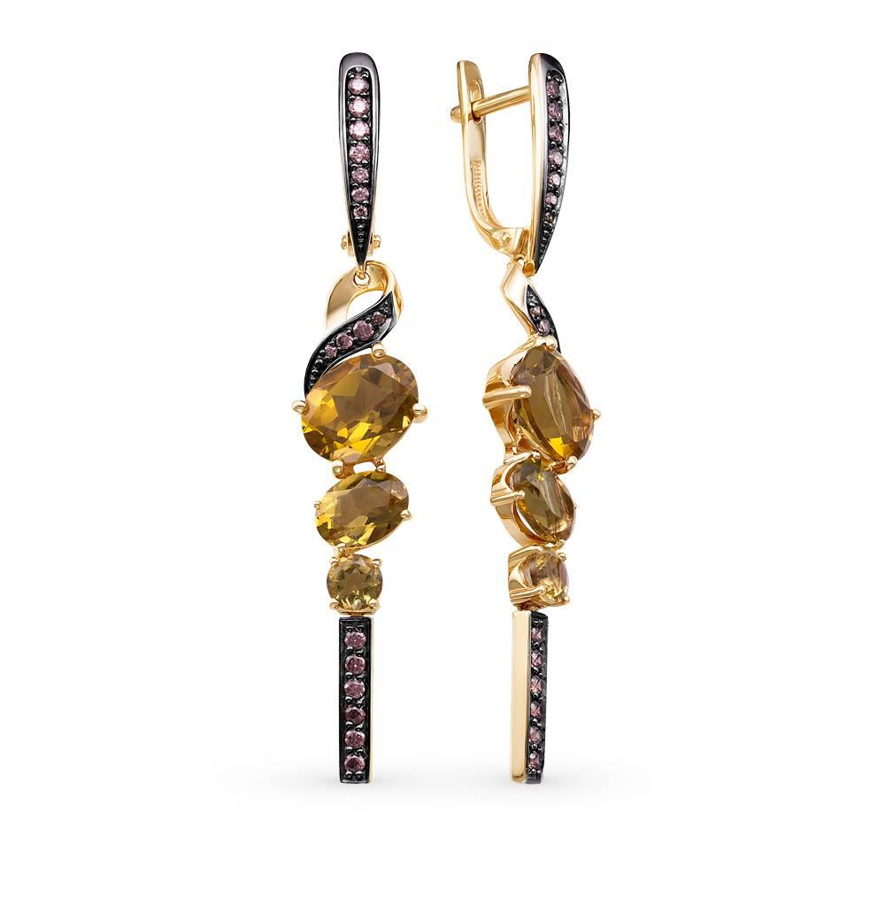 золотые серьги с султанитами и фианитами