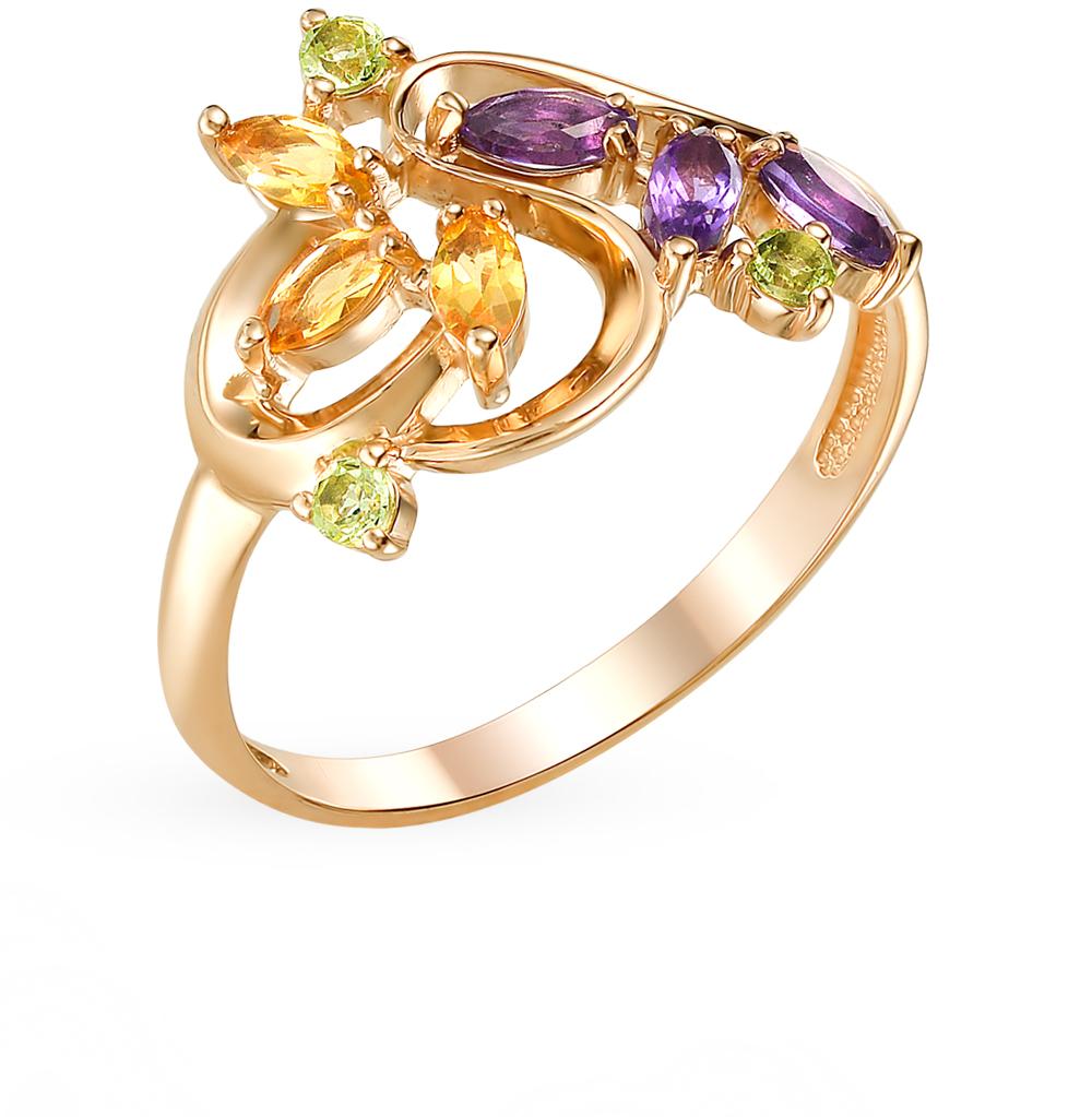 серебряное кольцо с хризолитом, аметистом и цитринами