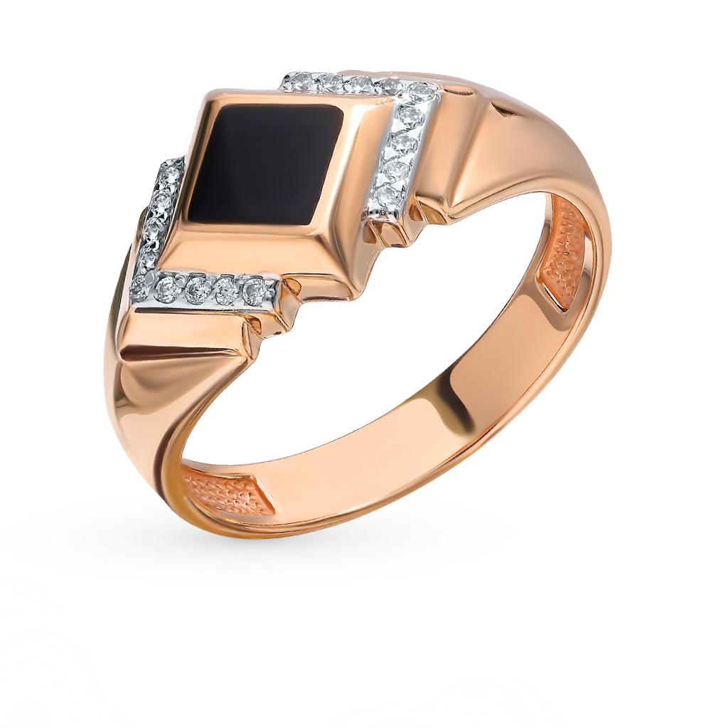 Золотое кольцо с фианитами и эмалью в Санкт-Петербурге