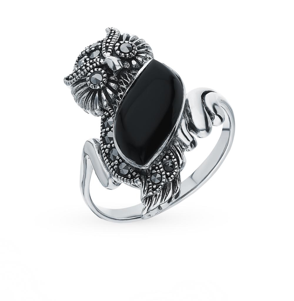 Серебряное кольцо с марказитами и ониксом в Екатеринбурге