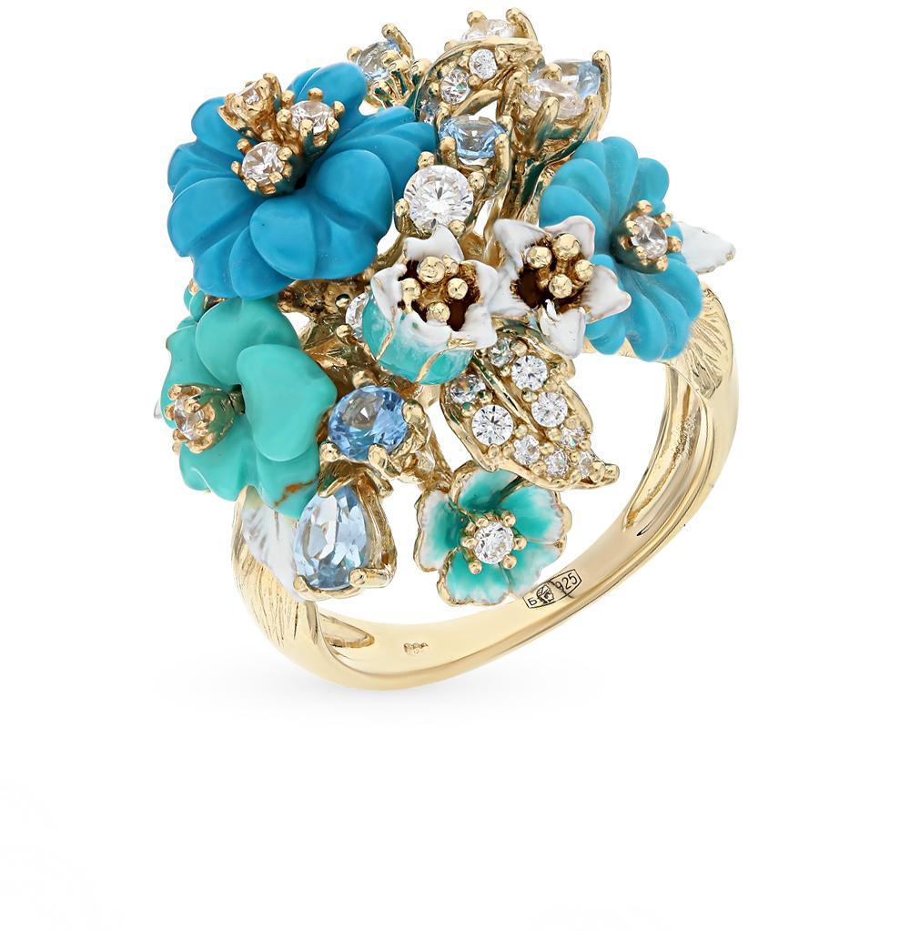 Серебряное кольцо с эмалью и бирюзой