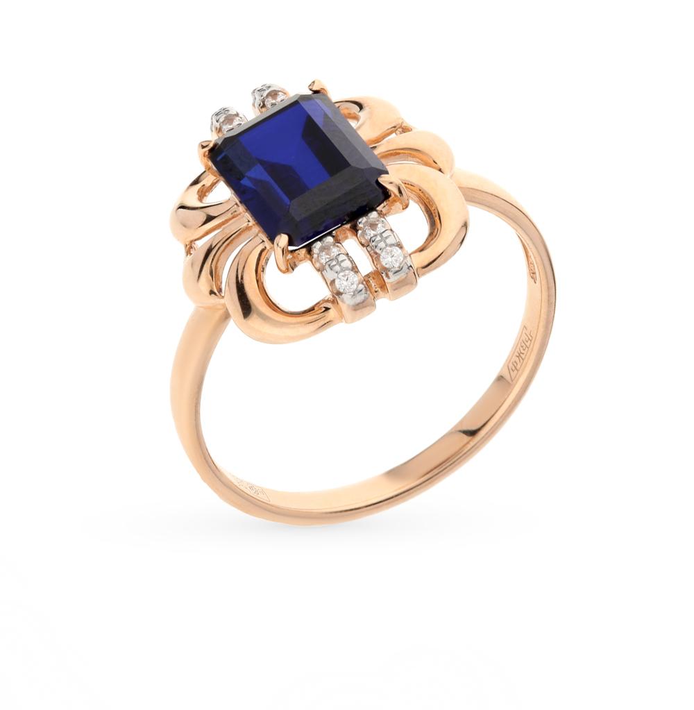 золотое кольцо с корундом и фианитами SOKOLOV 714314*