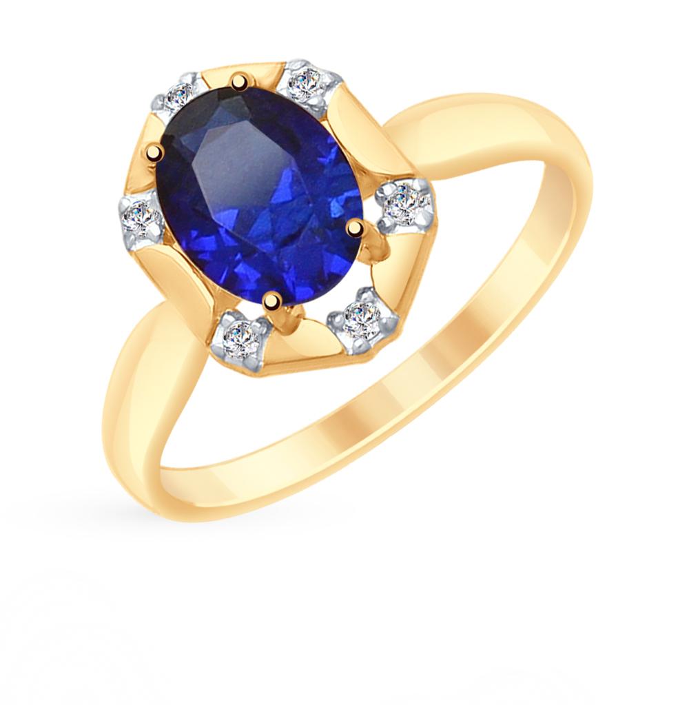 Фото «Золотое кольцо с корундом и фианитами SOKOLOV 715293*»