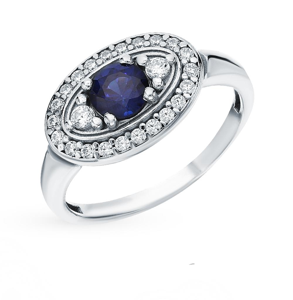 Серебряное кольцо с сапфирами и фианитами в Санкт-Петербурге