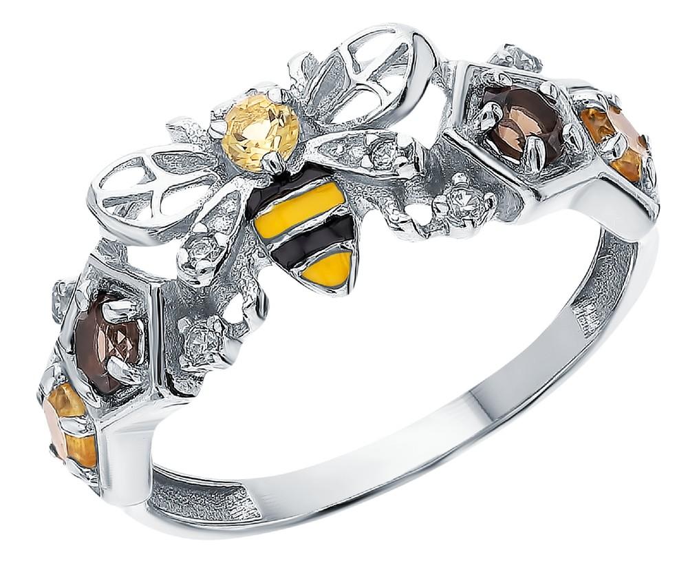 Серебряное кольцо с раухтопазами, фианитами и эмалью в Екатеринбурге