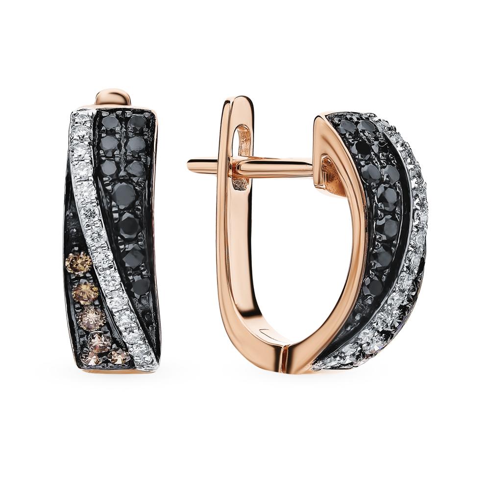 Золотые серьги с чёрными и коньячными бриллиантами и бриллиантами в Санкт-Петербурге