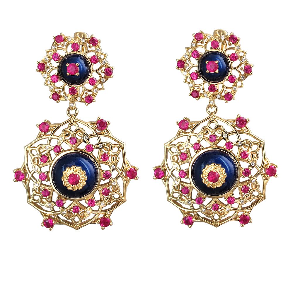 золотые серьги с рубинами, эмалью и бриллиантами