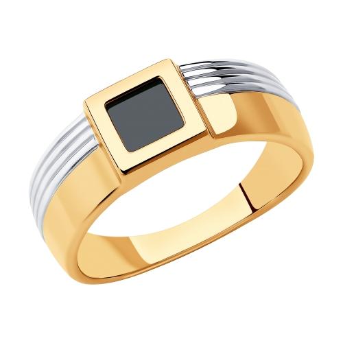 Фото «Золотое кольцо с ониксом SOKOLOV 018442»