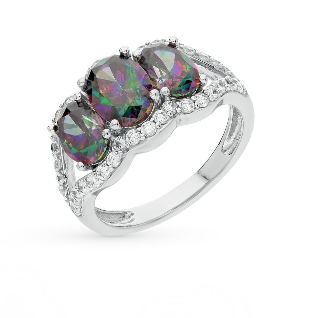 Фото «серебряное кольцо с фианитами и кварцами синтетическими»