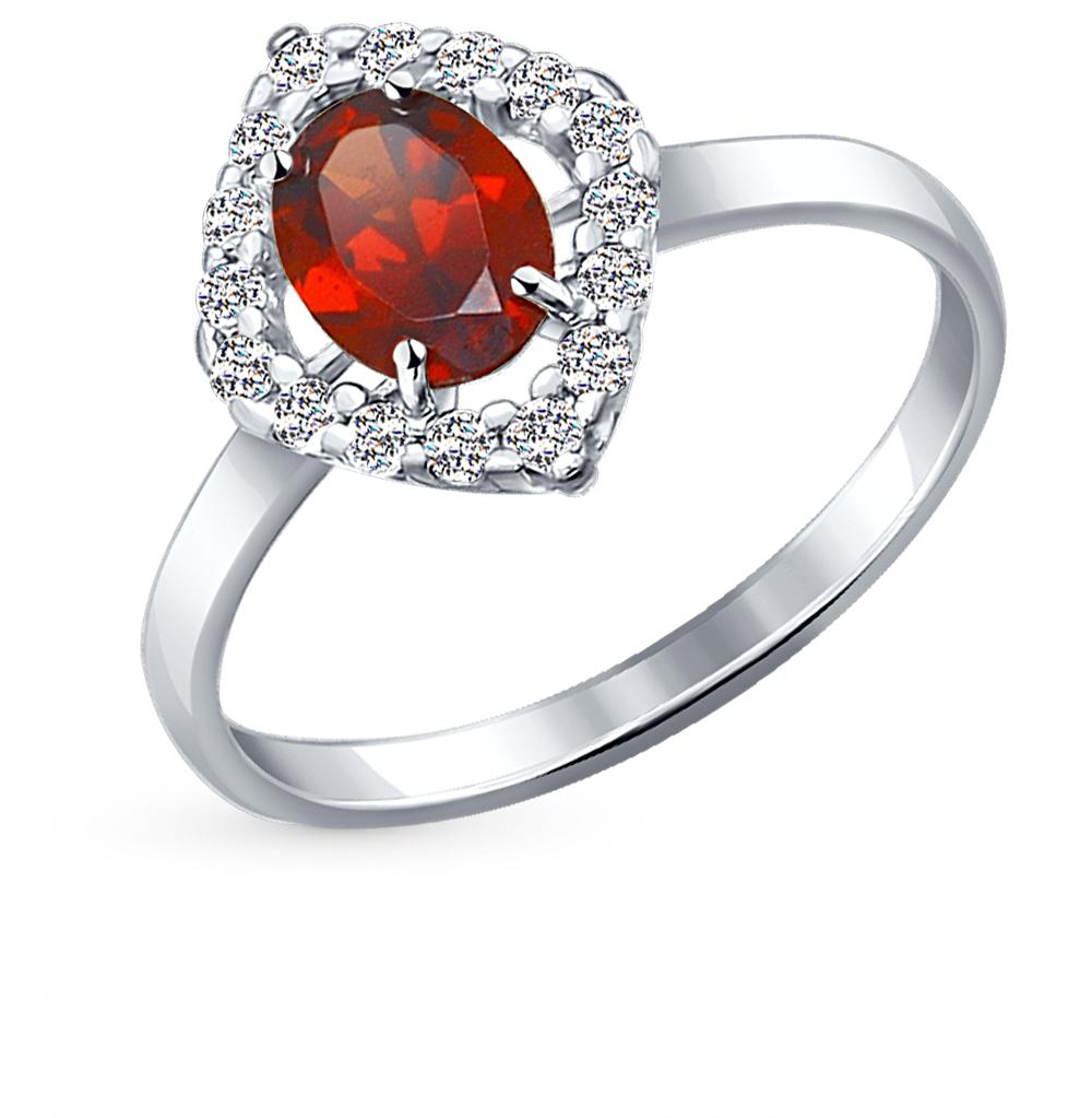 Серебряное кольцо с фианитами и гранатом SOKOLOV 92010989 в Санкт-Петербурге
