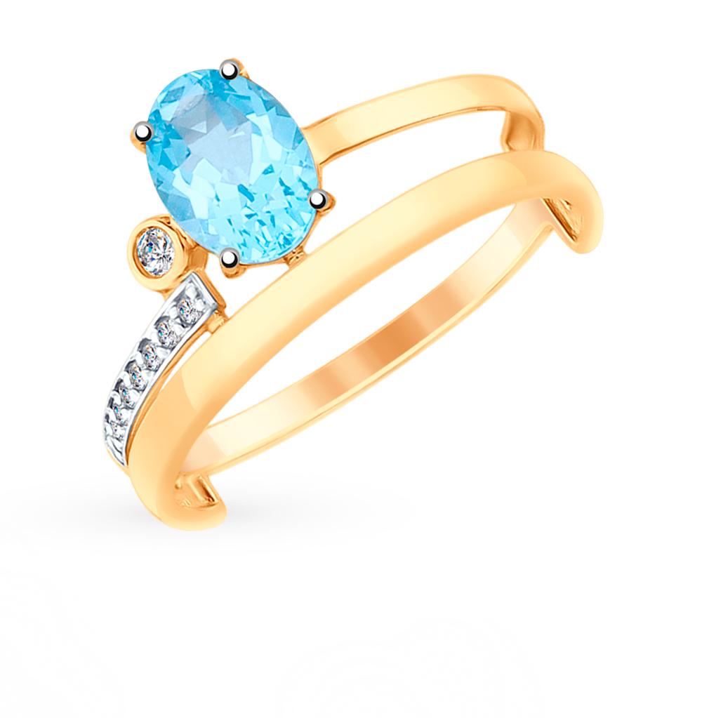 золотое кольцо с топазами и фианитами SOKOLOV 715196*