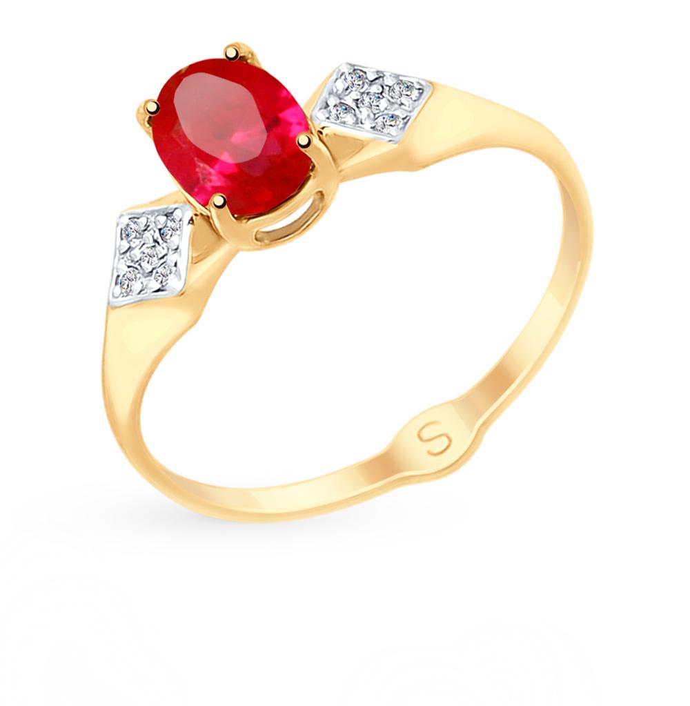 Фото «Золотое кольцо с рубинами, корундом и фианитами SOKOLOV 715151*»