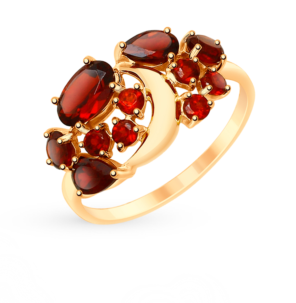 Золотое кольцо с гранатом SOKOLOV 715140 в Екатеринбурге