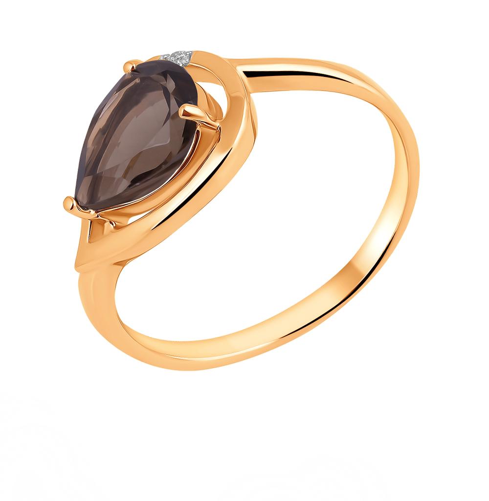 Фото «Золотое кольцо с раухтопазами и фианитами»