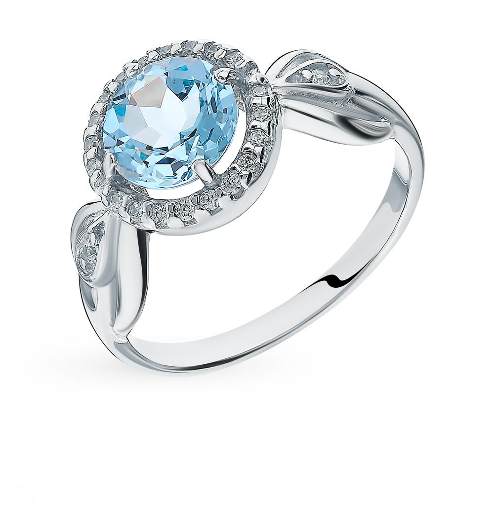 Серебряное кольцо с топазом и фианитами SOKOLOV 92011673
