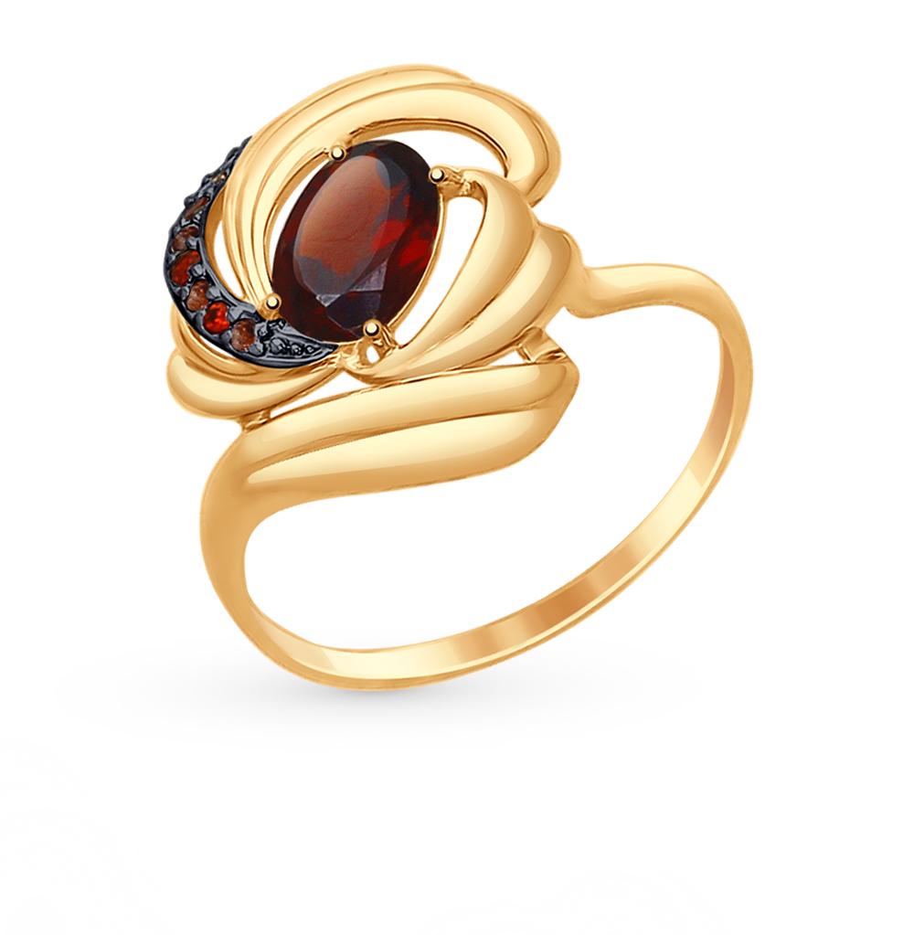 золотое кольцо с фианитами и гранатом SOKOLOV 714740*