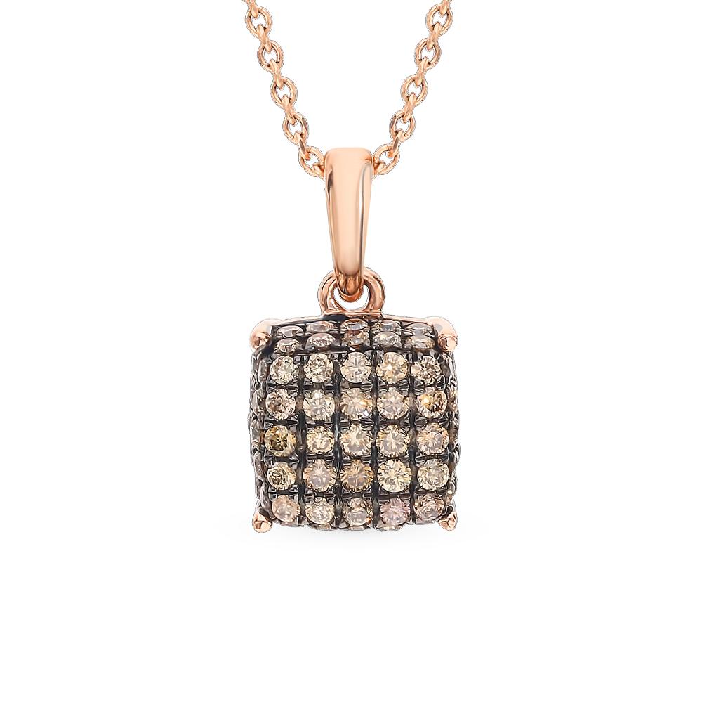 золотая подвеска с коньячными бриллиантами