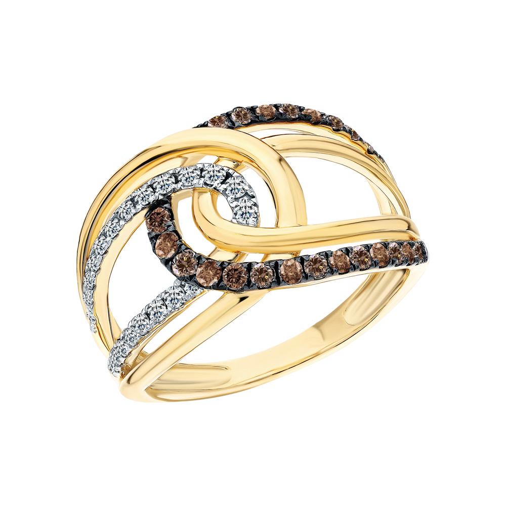 Золотое кольцо с коньячными бриллиантами и бриллиантами в Санкт-Петербурге