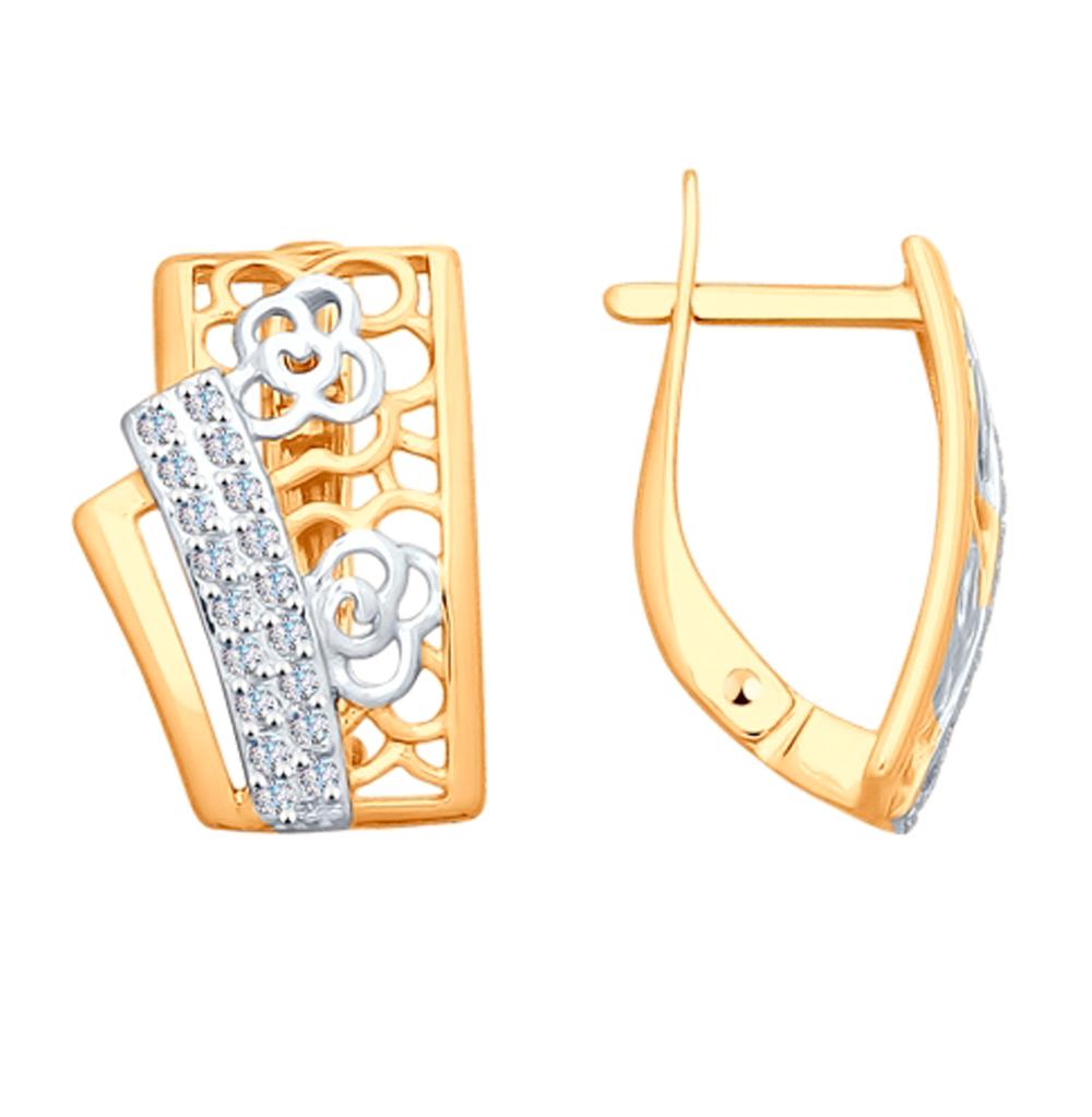 золотые серьги с фианитами SOKOLOV 027968