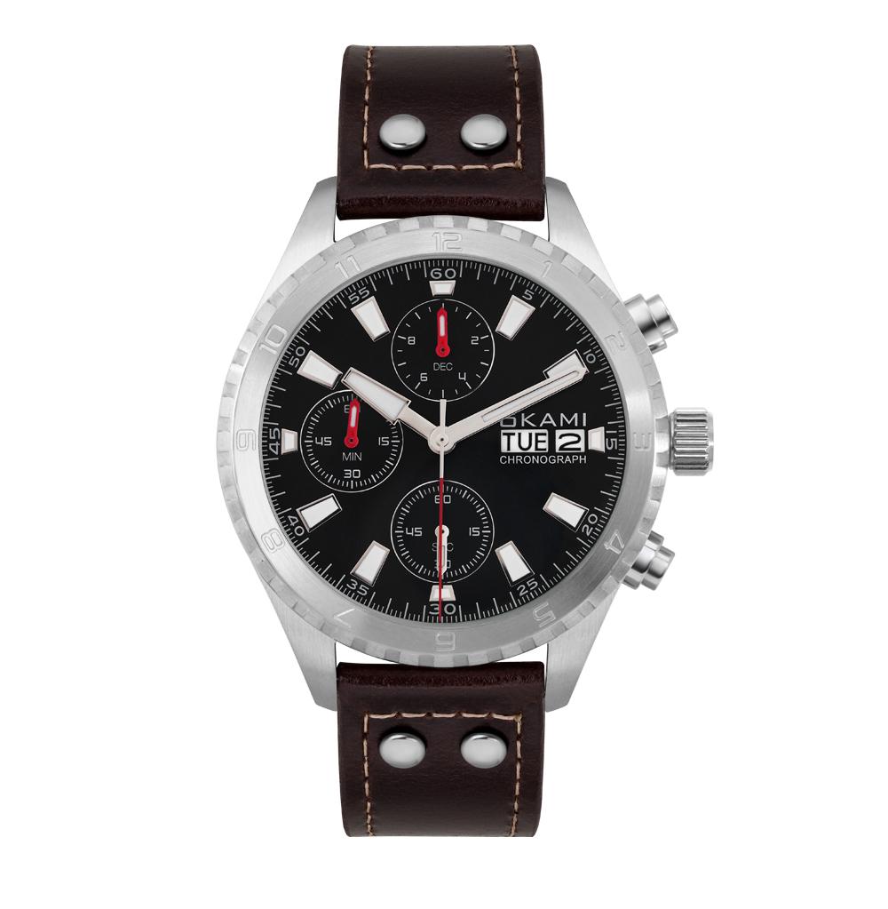 Мужские часы с хронографом и календарем на кориченевом ремне из натуральной кожи