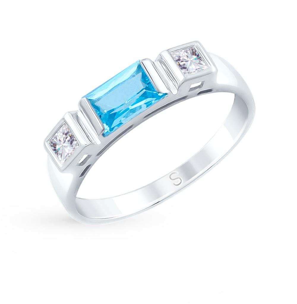 золотое кольцо с топазами и фианитами SOKOLOV 715094*