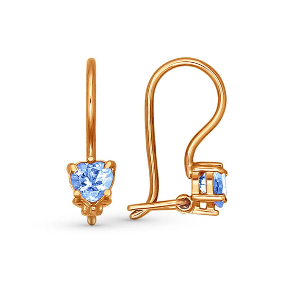 золотые серьги с фианитами SOKOLOV 021933*