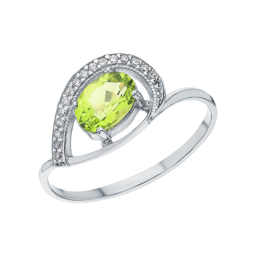 Фото «Серебряное кольцо с хризолитом и кубическими циркониями»