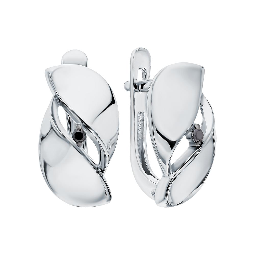 Фото «Серебряные серьги с чёрными бриллиантами»